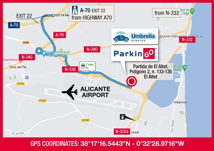 cartina parkingo parcheggio alicante aeroporto