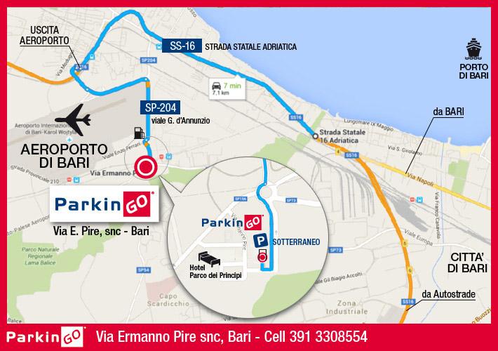 cartina parkingo parcheggio bari aeroporto