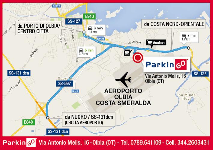 cartina parkingo parcheggio olbia aeroporto